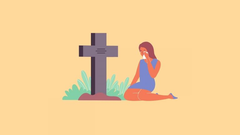 Crying in Front of Graveyard